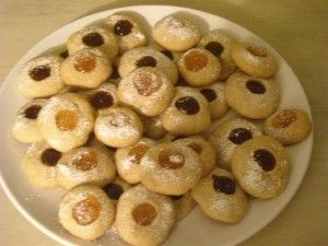 Angel's Eyes are a classic among the German Christmas Cookies. In general German Christmas cookies are rather small an smaller than the US cookies.