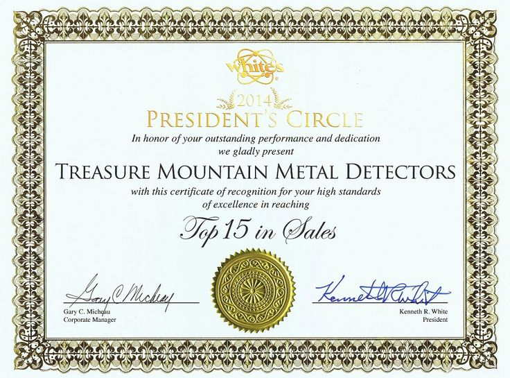 Treasure Mountain Metal Detectors Receives Whites Metal Detectors President's Circle Award for 2014!