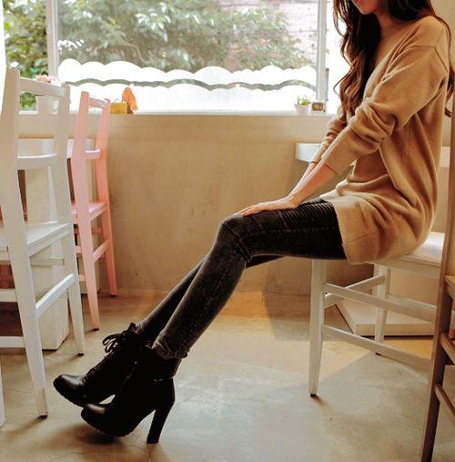 азиатский, коричневый, брюнетка, одежда, eoljjang, каблуки, высокие каблуки, kfashion, корейская мода, одежда, красивая, тощие ноги, свитера, тонкие, uljjang, ulzzang, волнистые волосы