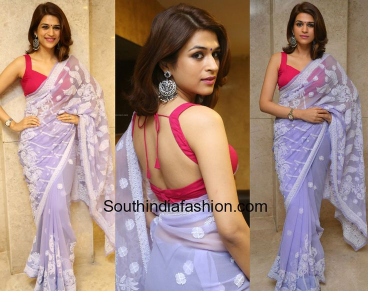 shraddha das lavender saree garudavega press meet photo