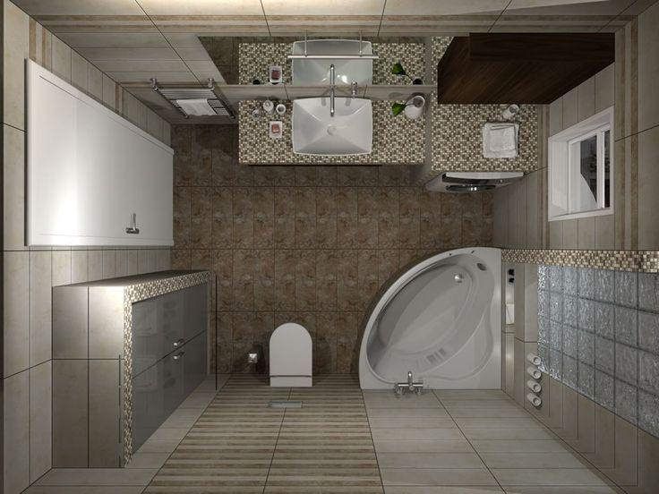 Κάτοψη του μπάνιου. Ο χώρος έχει διάσταση 2,10 x 3.10 m και το ύψος φτάνει στα 2,60 m. Το υαλότουβλο πάνω από τον χώρο της μπανιέρας επιτρέπει στο φυσικό φως να εισέλθει στο μπάνιο δημιουργώντας μία ευχάριστη αίσθηση.