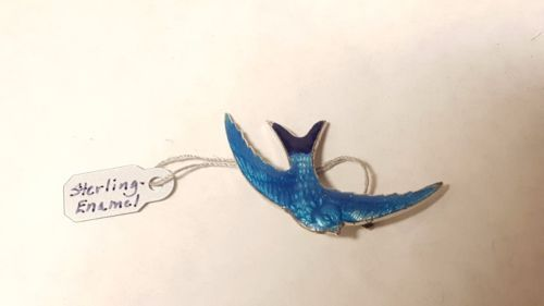 Artisan RM Co. VINTAGE Sterling & Enamel BLUE SWALLOW Brooch PIN w/ Tags ON   Jewelry & Watches, Fine Jewelry, Fine Pins & Brooches   eBay!