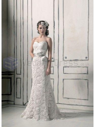 Venice Lace Mermaid Strapless Sweetheart Neckline Wedding Dress