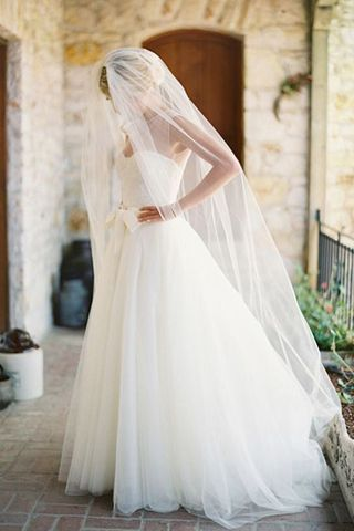 Beautiful chapel length veil