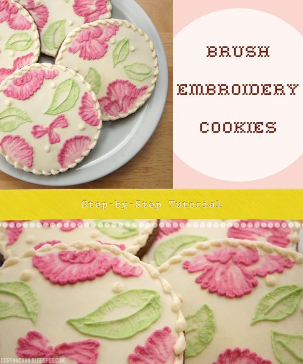 Brush Embroidery Sugar Cookies {Step-by-Step + Video Tutorial}