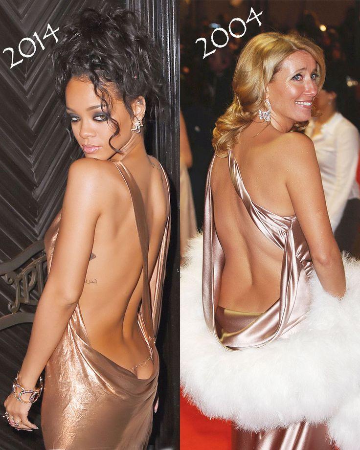 Rochii cu spatele gol la 10 ani distanta: Rihanna vs Emma