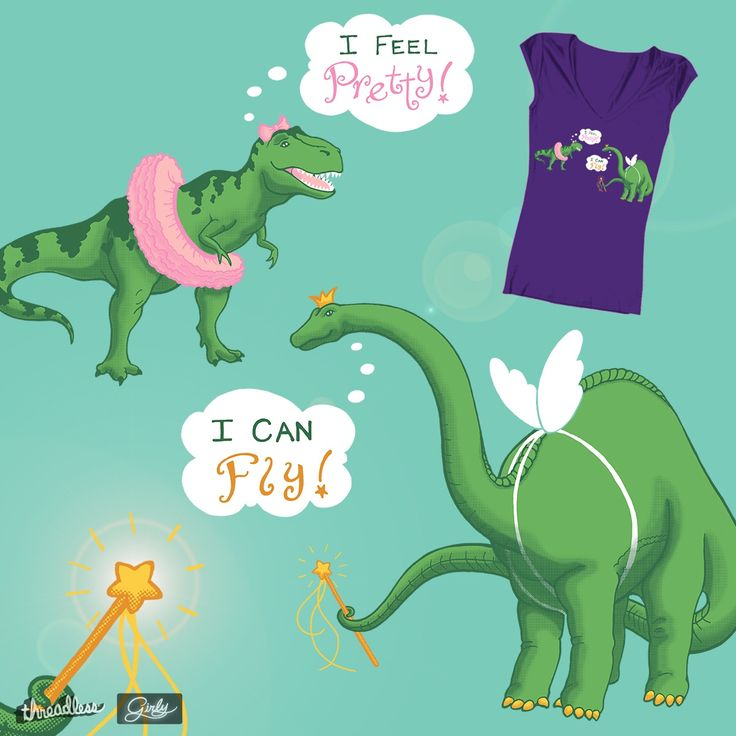 "Girls like dinosaurs, too! 2 on #Threadless •  Love Dinos and playing Dress-up? Please check out my new design for Threadless Tee's ""Girly"" contest and score it! • #CaryeVDPMahoney #Art #Dinosaurs #Dressup #Funny"