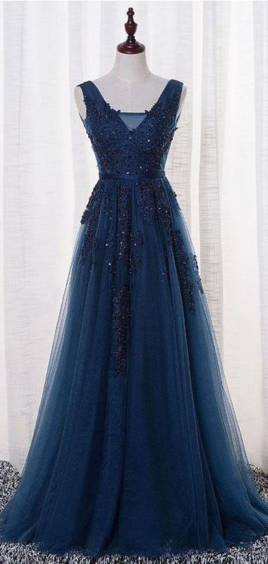 Long Custom prom dress, Floor Length V-neck Prom Dresses,Open Back Evening Dresses,Beautiful Navy Blue Prom Gowns,Women Dresses, Evening party dresses. PD0121095