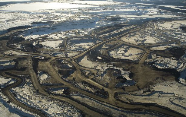 Aerial views of the mines of Syncrude Canada Ltd. and Suncor Energy Inc. Tar sands in Alberta.