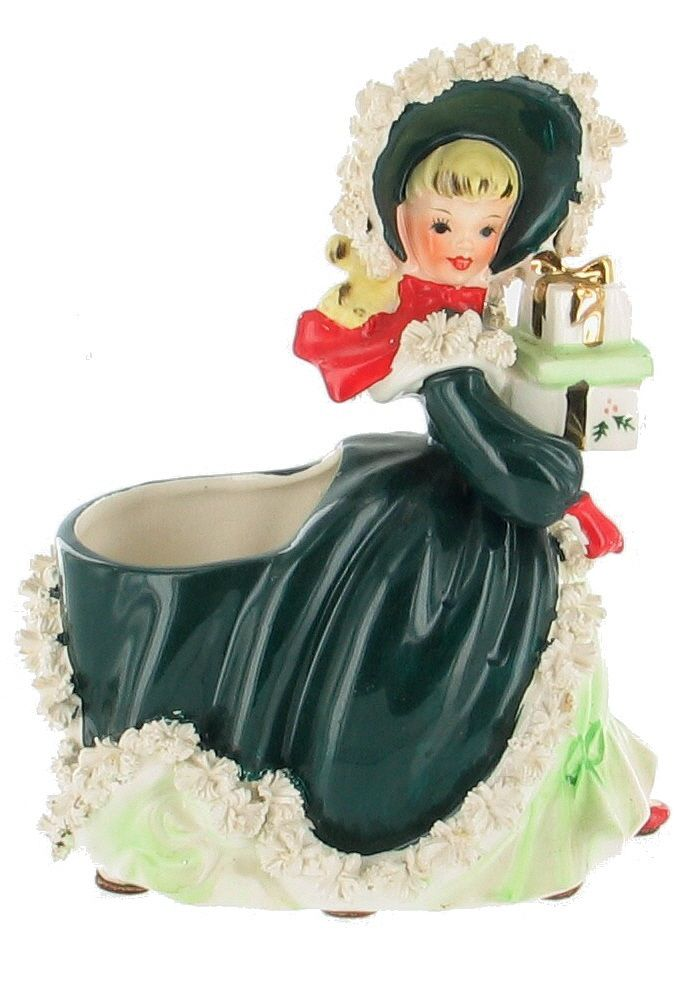 Green Napco Christmas Shopper Planter Figure