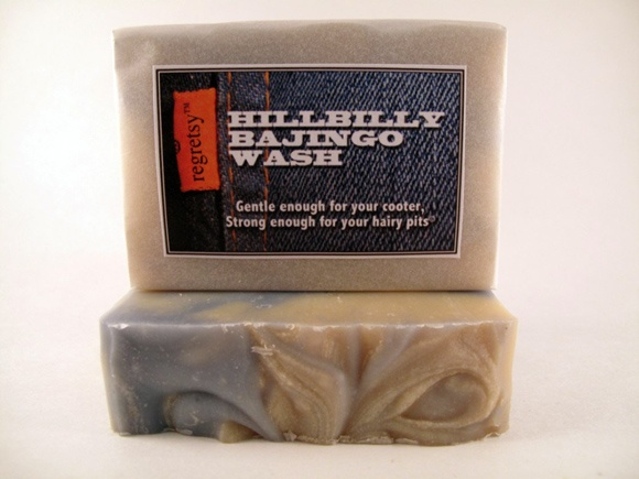 From regretsy:    1. Hillbilly Bajingo Wash    Now your cooter can smell like freshly laundered clothes, instead of whatever the hell that smell is that you currently have going on. This rich bath bar is formulated with shea butter for intense moisturizing, BECAUSE NOBODY LIKES A DRY BAJINGO