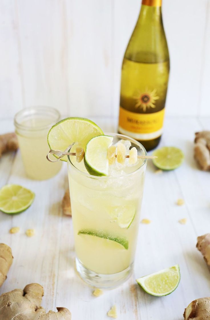 Wine Spritzers... * 4-5 oz. chilled Chardonnay * 2-3 oz. chilled ginger beer (or * ginger ale if want it a little sweeter) * juice from half a lime