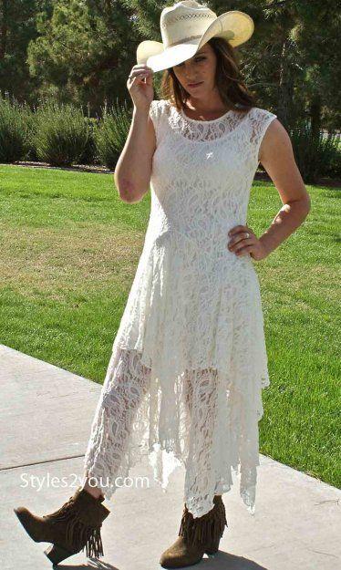 WESTERN LACE WEDDING DRESS Abigale Lace Dress In Ivory
