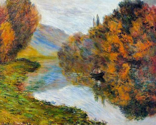 Claude Monet, Rowing boat on the Seine at Jeufosse 1884