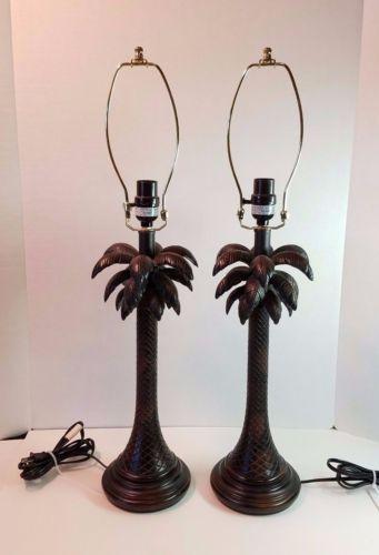 Pair-of-Palm-Tree-Frond-Table-Desk-Lamp-Tropical-Island-Caribbean-Bahamas-Decor