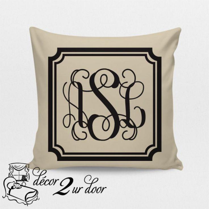 gorgeous monogrammed pillow perfect for monogram dorm room preppy