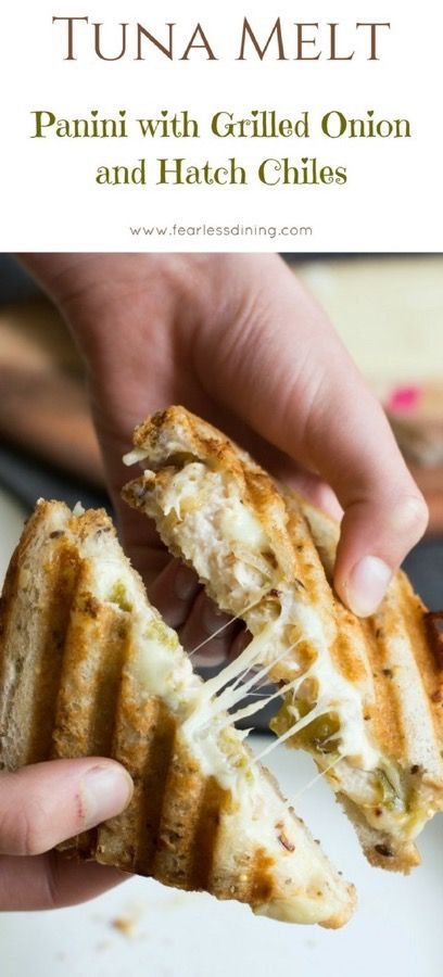 This easy tuna melt panini with grilled onion and fire-roasted hatch chiles is a delicious way to eat tuna salad. Making panini is easy, even without a panini press. Emmental cheese melts so well in this sandwich, but you can use any cheese. via @fearlessdining