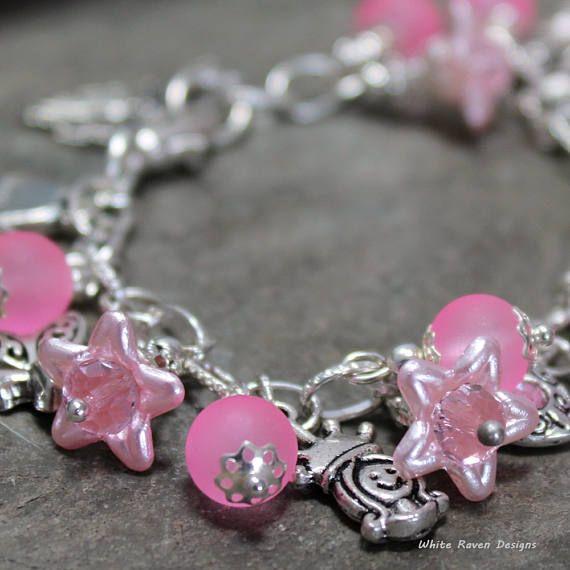 Teens Petite Ladies beaded charm bracelet Pink lucite flowers