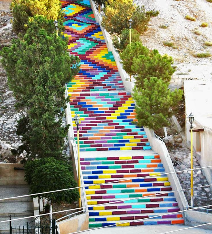 colorful stairs in syria