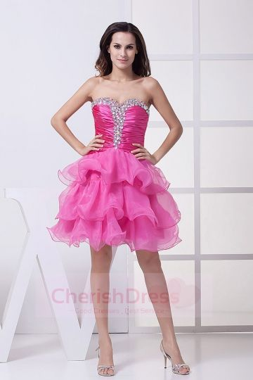Brightly Organza Sweetheart Ball Gown Ruffles Dress - OCCASION DRESSES
