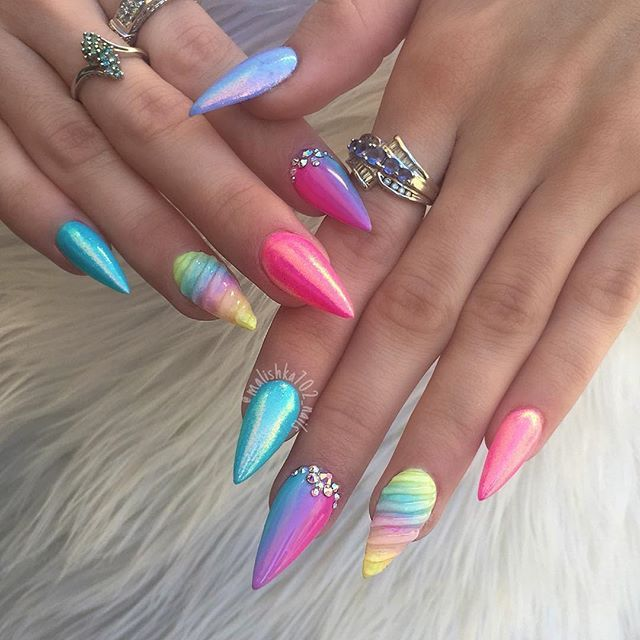 Rainbow neon glitter chrome unicorn stiletto nails