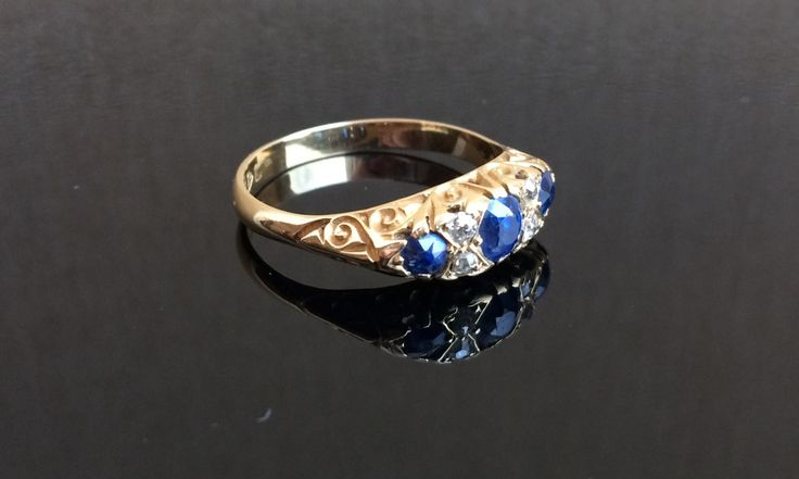 Edwardian engagement ring with sapphires and diamonds. by ArtJewelsStore on Etsy