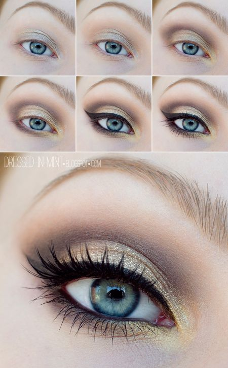 Golden schimmerndes Augen Make-up für den schönsten Tag.