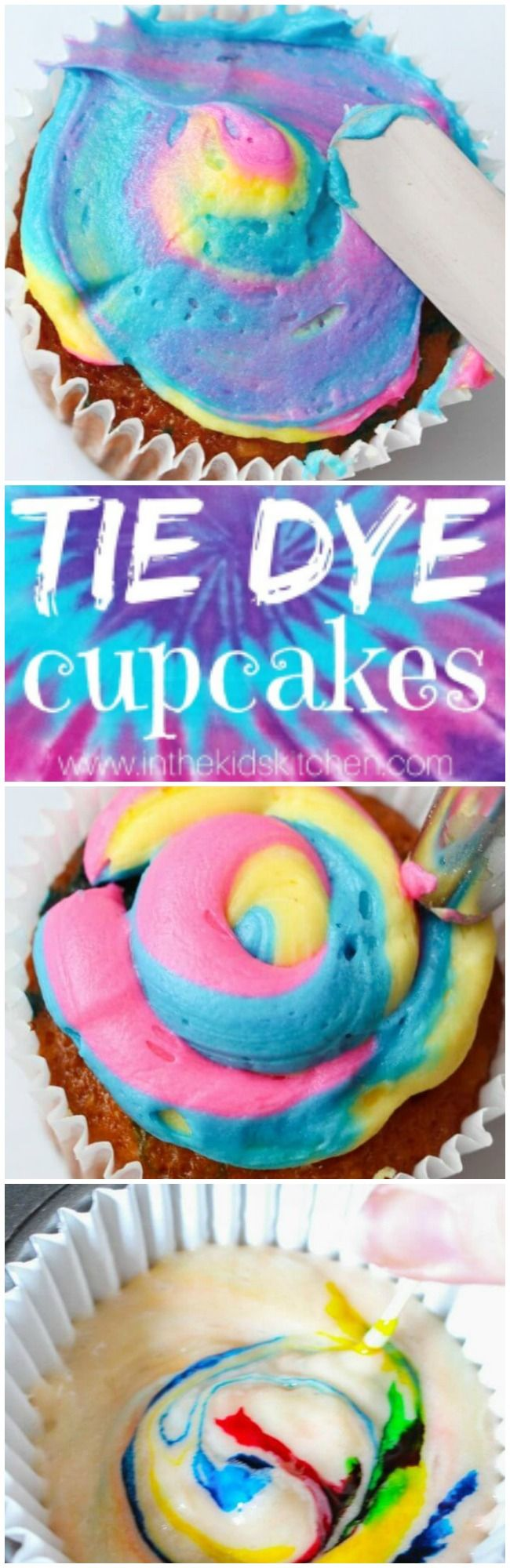 These vibrant Tie Dye Cupcakes are perfect for a summer barbecue or kids birthday party. And you won't believe how easy they are to make!