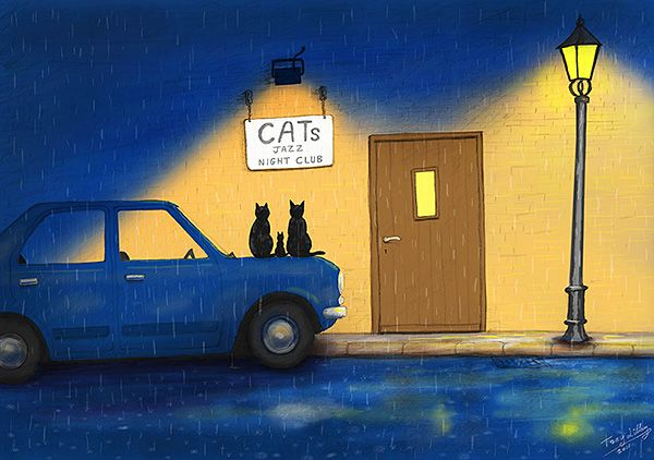 Cats Jazz Night Club. One of my early Trad-Digital paintings. Copyright © Tony Lilley