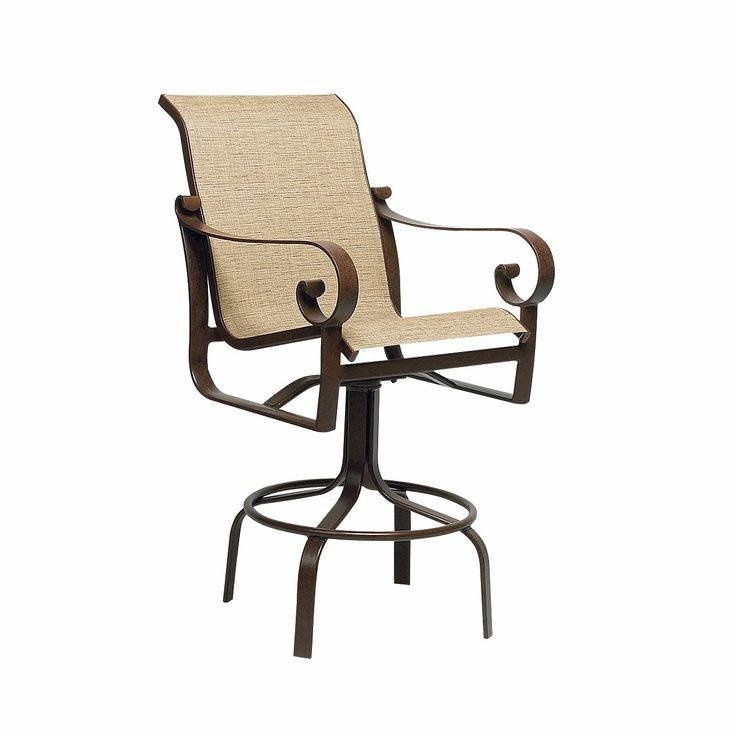 Woodard Belden Sling Swivel Outdoor Bar Stool Graphite And Custom Sling 459  ATG