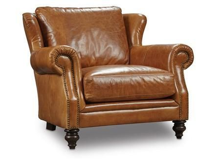 """Huntington Series SS360-01-085 35"""" Traditional-Style Living Room Morrison Stationary Chair with Turned Legs Nail Head Accents and Leather Upholstery in Brown"""