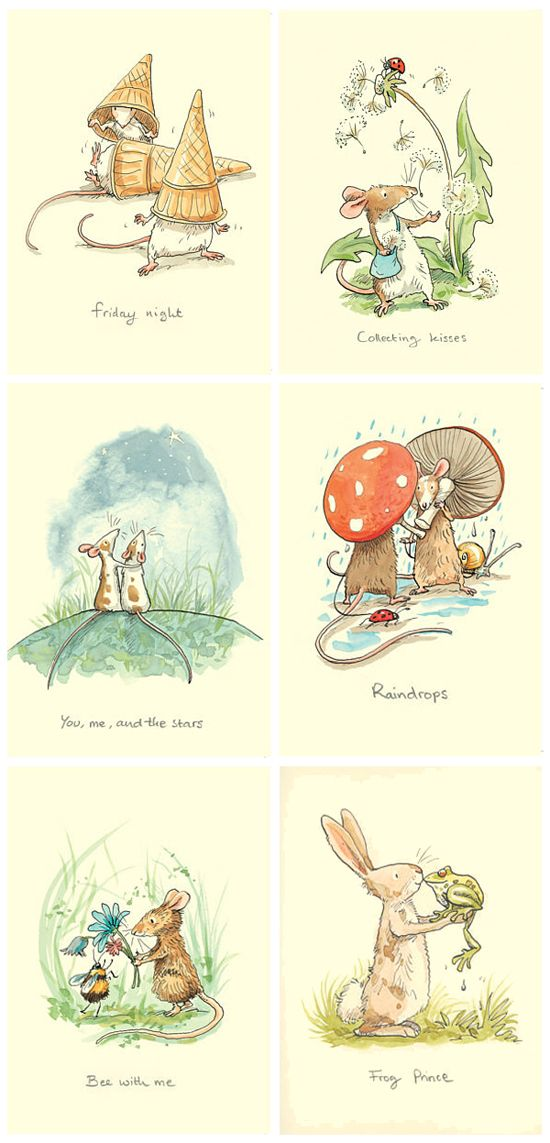 Selection of Anita Jeram's greetings cards printed by Two Bad Mice Publishers (http://creativesketchbook.blogspot.co.uk/2012/05/anita-jerams-adorable-childrens.html)