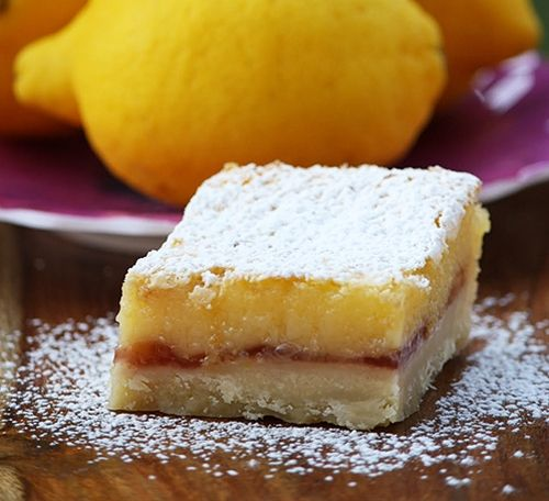 Lemon-Raspberry squares yummm! Altho i can never find them at ...