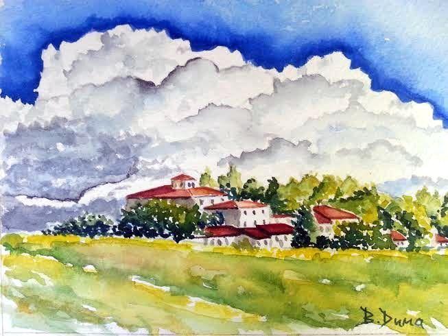 Village, original painting by Berrin Duma.
