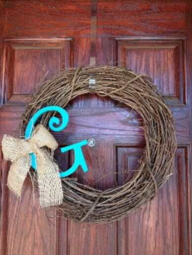 Dorm wreath with initial...simple, but I like it!