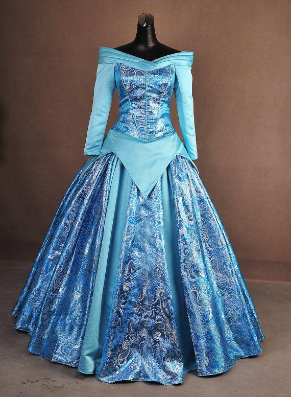 Dormir belleza Aurora azul brocado plata adulto Cosplay traje vestido