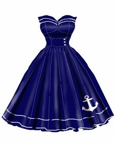 Blueberry Hill Fashions : Rockabilly Anchor Dress Available in Plus Sizes