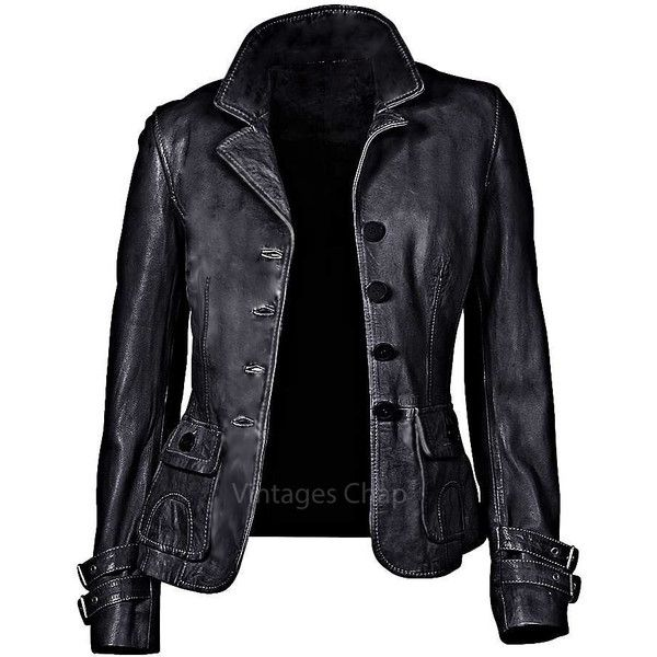 Womens Classic Real Leather Jacket Steam Punk, Moto, Motorbike,... ($135) ❤ liked on Polyvore featuring outerwear, jackets, gray jacket, vintage biker jacket, genuine leather jacket, steam punk jacket and grey leather jacket