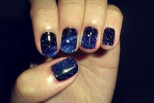 galaxyNails Art, Starry Night, Nailpolish, Outer Space, Nails Polish, Galaxy Nails, Night Sky, Blue Nails, Galaxies Nails