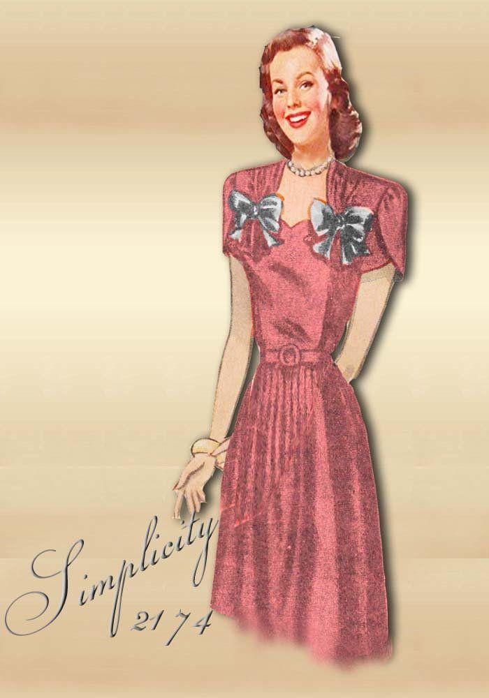 13f8ded3e0583 1940s Maternity Dress Pattern * Adjustable Waistline Expansion Design *  Simplicity 2174