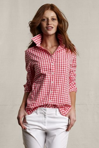 Lands End red gingham shirt  Makes you think of somebody? You can send a Lands' End e-gift card to your Facebook friends via Karmalot! (www.karmalot.com)