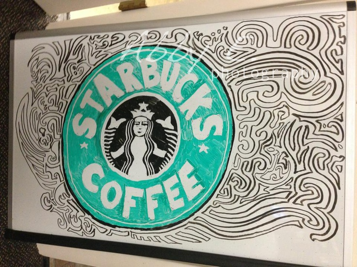 Starbucks logo in expo markers by Abby Fisher Expo