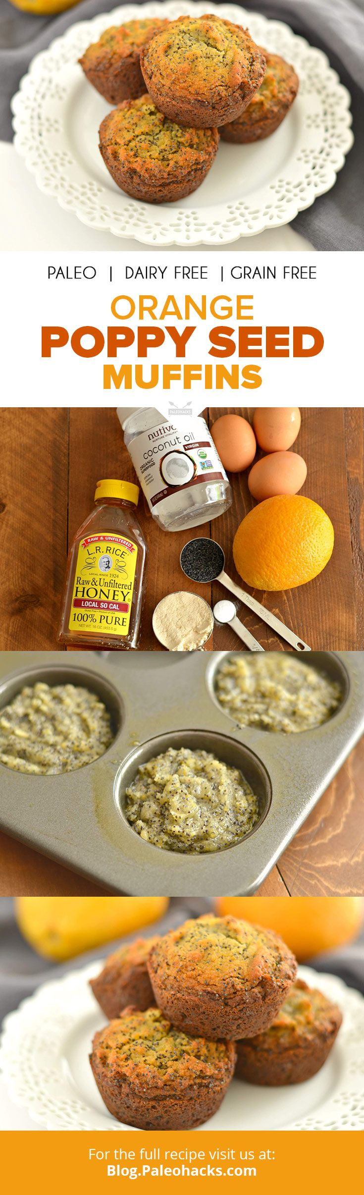 Are you ready for a citrusy Paleo pastry that's bursting with poppy seeds? These light Orange Poppy Seed Muffins are dairy-free, grain-free, and nut-free. They're a paleo-friendly snack you can take on the go or have for breakfast! For the full recipe visit us here: http://paleo.co/OPSMuffins