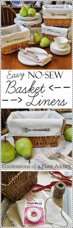 CONFESSIONS OF A PLATE ADDICT Fun and Easy No-Sew Basket Liners