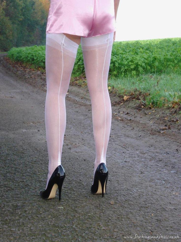 "nylonfoxie: ""White fully fashioned stockings…nylonfoxie """