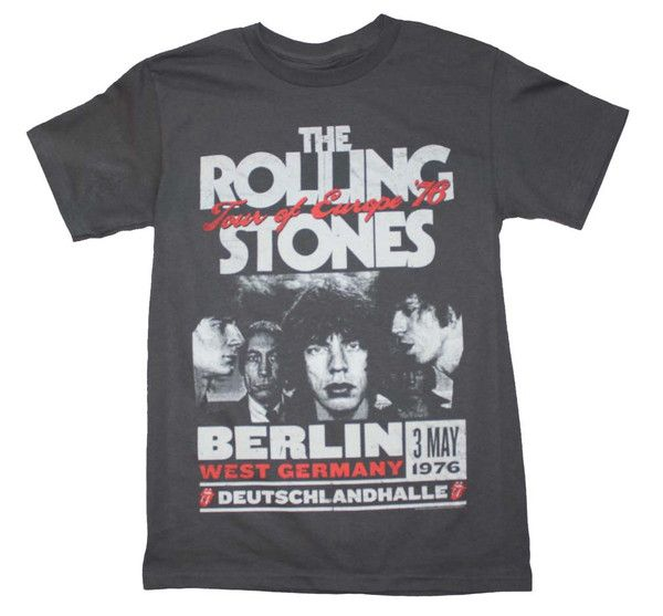 Officially licensed Rolling Stones t-shirt featuring a cool Europe '78 tour print from the band.   Men's standard fit, 100% cotton t-shirt. Charcoal gray.