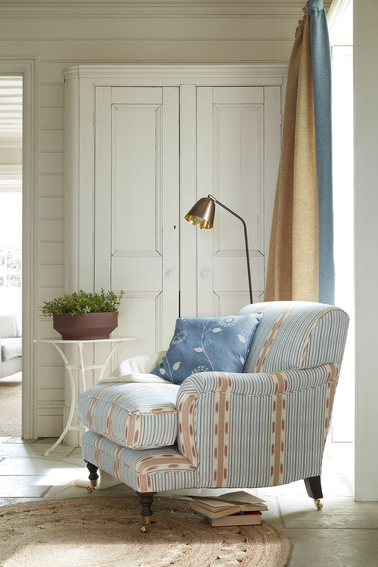 Scandinavian Woven fabric used here to cover an armchair