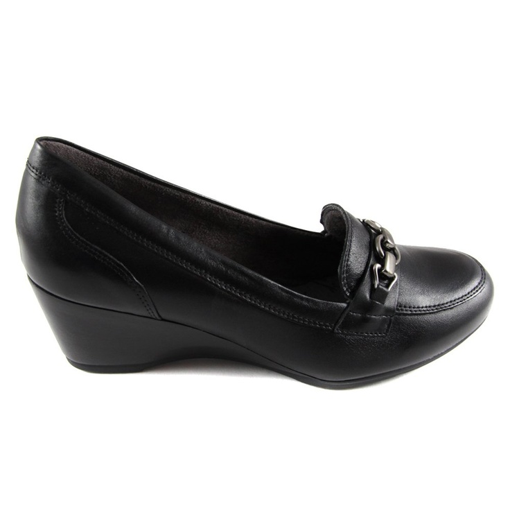 Pitillos Black Leather Buckle Detail women's wedge shoe is not only super  stylish but super super