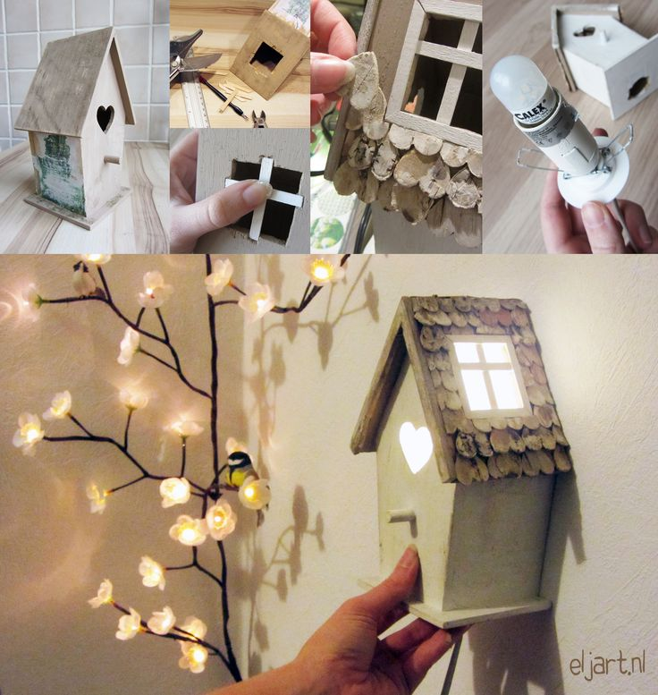 DIY - selfmade birdhouse lamp by Eljart.nl It's only a pictures tutorial, but looks pretty simple.