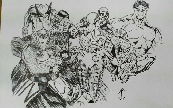 ComicAvengers #comic #drawing #draw #pen #art #movie #avengers #spiderman #ironman #hulk #thor #marvel #wolvering #marvelcomic